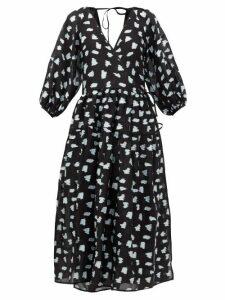 Cecilie Bahnsen - Regitze Fil-coupé Wrap Dress - Womens - Black Multi