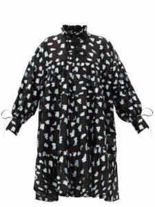 Cecilie Bahnsen - Macy Oversized Pleated Rose Fil-coupé Shirtdress - Womens - Black Multi