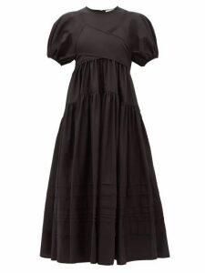 Cecilie Bahnsen - Elisa Tie-back Tiered Cotton-poplin Midi Dress - Womens - Black