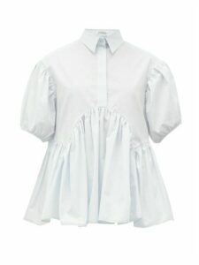 Cecilie Bahnsen - Ellie Gathered Cotton-poplin Shirt - Womens - Light Blue