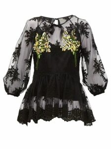 Romance Was Born - Mimosa Floral-embroidered Tulle Top - Womens - Black