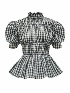 Romance Was Born - Puff-sleeve Ruched Gingham Taffeta Blouse - Womens - Black White