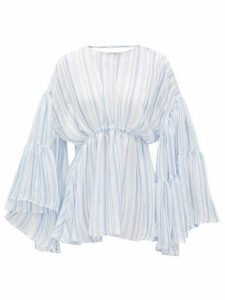 Romance Was Born - Louis Stripe-print Voile Blouse - Womens - Blue White
