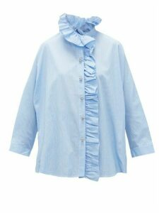 Romance Was Born - Queen's Consort Crystal-button Cotton Blouse - Womens - Blue White