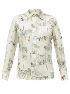 La Prestic Ouiston - Joana Paris-print Silk-twill Shirt - Womens - White Multi