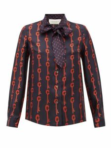 La Prestic Ouiston - Montin Pussy-bow Good Luck-print Silk Blouse - Womens - Black Red