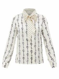 La Prestic Ouiston - Montin Pussy-bow Good Luck-print Silk Blouse - Womens - White Black