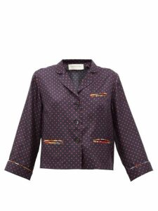 La Prestic Ouiston - Marine Polka-dot Silk-twill Blouse - Womens - Navy Multi