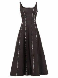 Rasario - Sequinned Scoop-neck Silk Midi Dress - Womens - Black