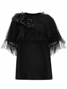 Simone Rocha - Puff-sleeve Tulle-cape Cotton T-shirt - Womens - Black