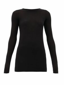 Rick Owens - Round-neck Ribbed-jersey Long-sleeved T-shirt - Womens - Black