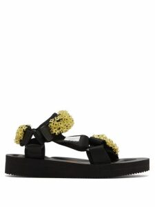Cecilie Bahnsen - X Suicoke Maria Beaded Velcro-strap Sandals - Womens - Black Yellow
