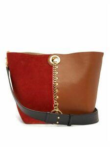 See By Chloé - Gaia Colour-block Suede And Leather Tote Bag - Womens - Red Multi
