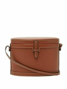 Hunting Season - The Mini Round Trunk Leather Cross-body Bag - Womens - Tan