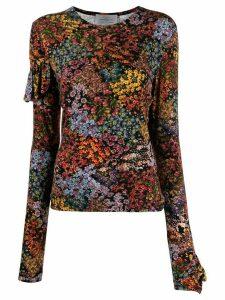 Preen By Thornton Bregazzi floral print ruffle back top - Black