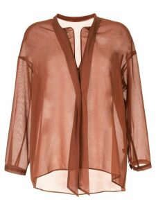 Des Prés oversied sheer blouse - Brown