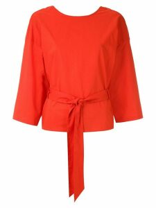 Andrea Marques belted wrap blouse - ORANGE