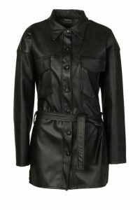 Womens Petite Faux Leather Belted Longline Shirt Jacket - black - 8, Black