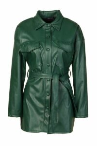 Womens Petite Faux Leather Belted Longline Shirt Jacket - green - 14, Green