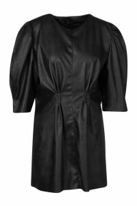 Womens Petite Faux Leather Puff Sleeve Dress - Black - 4, Black