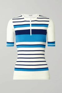 Miu Miu - Striped Ribbed Wool Sweater - White