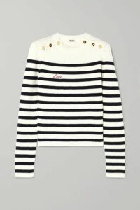 Miu Miu - Embroidered Striped Ribbed Wool Sweater - Ivory