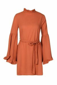 Womens Ruffle Neck Flared Sleeve Belted Skater Dress - brown - 16, Brown