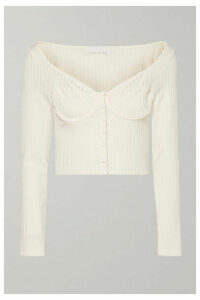 Fleur du Mal - Cropped Button-embellished Ribbed-knit Top - Cream
