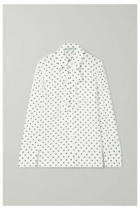 Prada - Pussy-bow Polka-dot Silk Crepe De Chine Blouse - Ivory