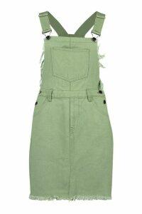 Womens Frayed Edges Denim Pinafore Dress - Green - 10, Green