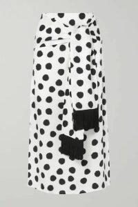 Mother of Pearl - + Net Sustain Kate Fringed Tie-front Polka-dot Lyocell Midi Skirt - White