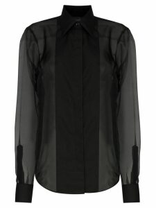 Helmut Lang sheer tuxedo style shirt - Black