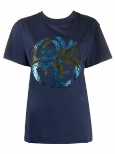 Alberta Ferretti Love sequin T-shirt - Blue