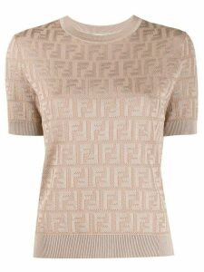 Fendi FF jacquard knitted top - NEUTRALS