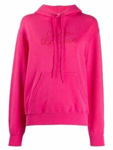 Giada Benincasa slogan embroidered hoodie - PINK