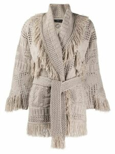Alanui knitted fringe cardigan - NEUTRALS
