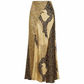 RIXO Parker Leopard-print Satin Midi Skirt