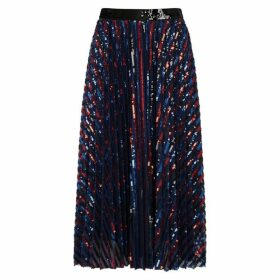 Philosophy Di Lorenzo Serafini Striped Sequin-embellished Midi Skirt