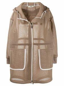 Fendi mesh hooded coat - NEUTRALS