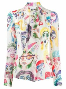 Moschino doodle print blouse - White