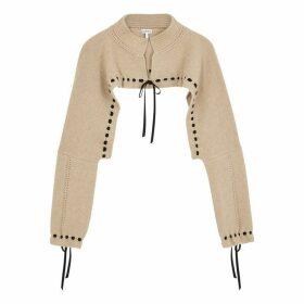 Loewe Taupe Cropped Wool-blend Jumper