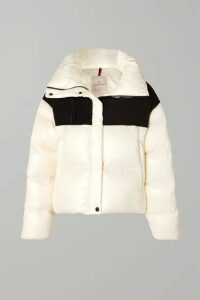Moncler - Hooded Two-tone Quilted Shell And Jersey Down Jacket - White