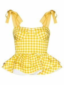 Silvia Tcherassi Junquillo gingham peplum top - Yellow
