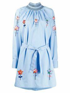 Prada needlepoint smocked shirt dress - ZPY AZZURR + NE+ MULTI
