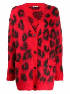 Miu Miu leopard print cardigan - Red