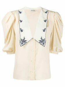 Miu Miu floral embroidery flare blouse - NEUTRALS