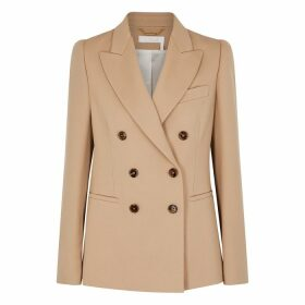 Chloé Camel Double-breasted Wool-blend Blazer