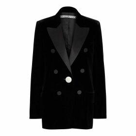 Alexander Wang Black Double-breasted Velvet Blazer