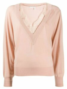Chloé lace trim jumper - PINK
