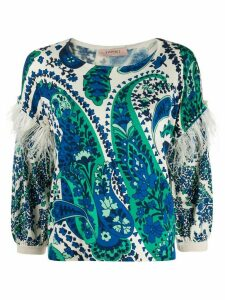 Twin-Set feather trim knitted top - Blue
